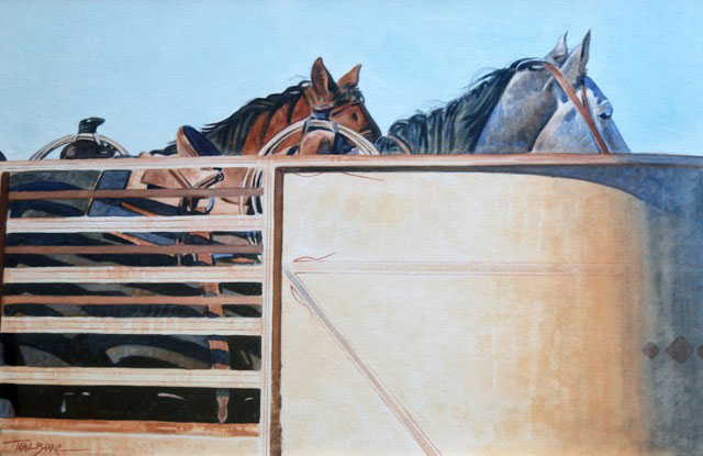 Teal Blake Watercolor of horses in a open top trailer